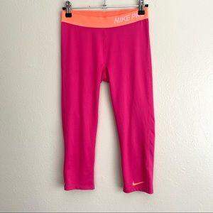 Nike Pro Girl Pink Orange Dri Fit Workout Leggings